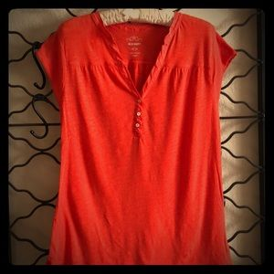 Super soft orange T-shirt with button sleeve